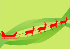 Red sleigh. Red santa claus sleight on green background illustration Stock Image