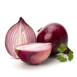 Red sliced onion and fresh parsley still life Royalty Free Stock Images