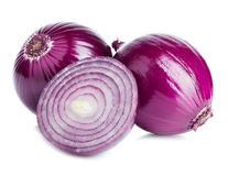 Red sliced onion isolated on a white background. Royalty Free Stock Photo