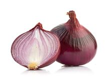 Red sliced onion isolated on white background Royalty Free Stock Photos