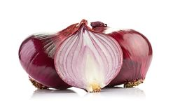 Red sliced onion isolated on white background Royalty Free Stock Images