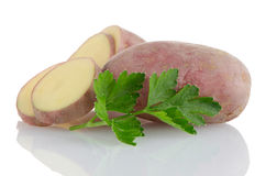 Red sliced potatoes Stock Photo
