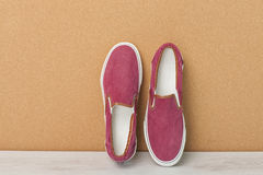Red slip-on shoes Stock Image