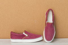 Red slip-on shoes Royalty Free Stock Photo