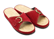 Red slippers Stock Images