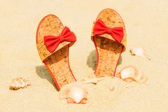 Red slippers Stock Photos