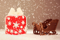 Red small cake with snow Royalty Free Stock Photos