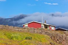 Red Small House in East Iceland Stock Images