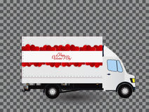 Red Small truck. Silhouette. Vector Illustration. Royalty Free Stock Photography