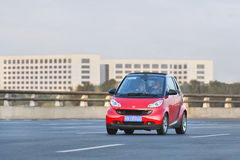 Red Smart on the expressway, Beijing, China Royalty Free Stock Photography