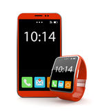 Red smartohone and smart watch Royalty Free Stock Photos