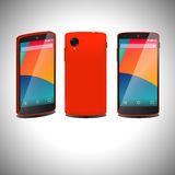 Red smartphone in three ways. Stock Image