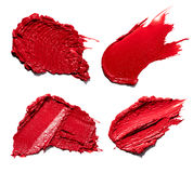 Red smear paint of cosmetic products Royalty Free Stock Photography