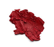 Red smear paint of cosmetic products Stock Photography