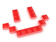 Red Smile. A smile made of red blocks, isolated on a white background Royalty Free Stock Photography