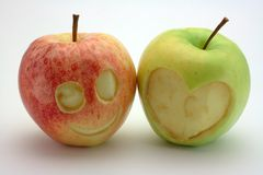Red smile green heart Royalty Free Stock Photo