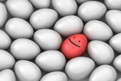 Red smiling easter egg among similar. White eggs vector illustration