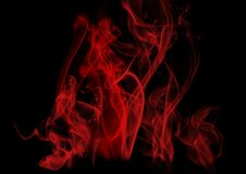 Red Smoke Abstract on Black Background Stock Photos