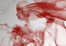 Red smoke woman Royalty Free Stock Photos