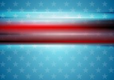 Red smooth stripes on blue star background. Usa Royalty Free Stock Photo