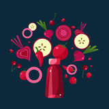 Red Smoothie Recipe. Illustration of Ingredients. Red Smoothie Recipe. With Illustration of Ingredients Stock Photography