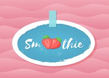 Red smoothie strawberry cocktail sticker graphic. Red smoothie strawberry cocktail sticker vector illustration. Tasty fruit with hand drawn Smoothie sign in stock illustration