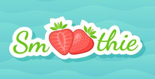 Red smoothie strawberry cocktail sticker logo. Vector illustration. Sign Smoothie on blue background in on colorful smoothies drink cocktail sticker for stock illustration