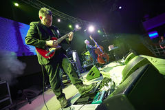 Red Snapper band playing in the Lviv club. Lviv, Ukraine - 27.03.2015: Red Snapper are a British instrumental band performs at Lviv, Ali Friend double bass Stock Image