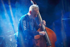 Red Snapper band playing in the Lviv club. LVIV, UKRAINE - MARCH 27, 2015: Red Snapper are a British instrumental band performs at Lviv, Ali Friend double bass Stock Photography