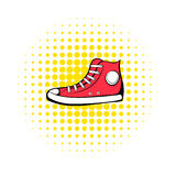 Red sneaker comics icon. Hipster symbol on a white background Stock Image