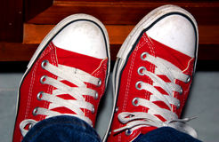 Red Sneakers. A Pair of Red Sneakers stock photography