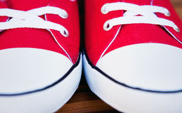 Red sneakers close up Royalty Free Stock Photo