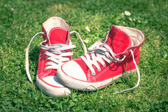 Red sneakers Royalty Free Stock Images