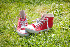 Red sneakers Royalty Free Stock Photos
