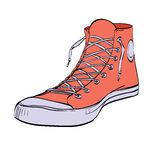 Red sneakers youth shoes Royalty Free Stock Photography