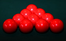 Red Snooker Balls on Table Royalty Free Stock Photography