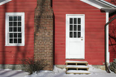 Red Snow Covered House, Rural, Winter Scene Stock Photo