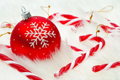 Red snow flake bauble Royalty Free Stock Photo