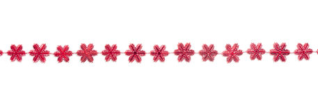 Red snow flake decoration garland Stock Photography