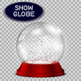 Red snow globe transparent and isolated for design. Stock Image