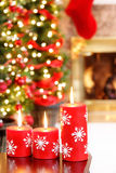 Red snowflake candles stock photography