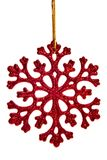 Red snowflake decoration. Isolated on white background stock photography