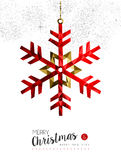 Red snowflake decoration for Christmas card. Merry christmas and happy new year red winter snowflake in low poly style, holiday decoration card design. EPS10 Stock Photos