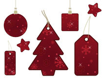 Red snowflake gift tags Stock Photo