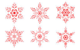 Red Snowflake icons set Stock Image