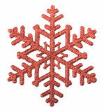 Red snowflake isolated on white background Stock Photos