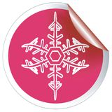 Red snowflake label Royalty Free Stock Photo