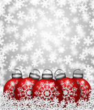 Red Snowflake Ornaments on Snow. Red Snowflake Christmas Tree Ornaments Sitting on Snow Illustration Stock Image