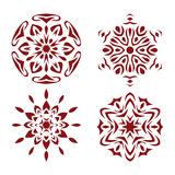 Red snowflake set. Royalty Free Stock Image