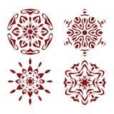 Red Snowflake Set. Royalty Free Stock Image
